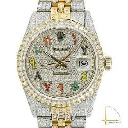 Rolex Datejust Deux Tons 36mm Arabe Arc-en-pave Diamond Watch Véritable Pleine