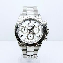 Rolex Daytona Cosmograph 116520 Box & Papers Full Set Stainless Steel White Dial