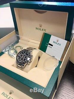 Rolex Daytona En Acier Noir Inoxydable Cadran 116500ln Full Set Box Et Papiers