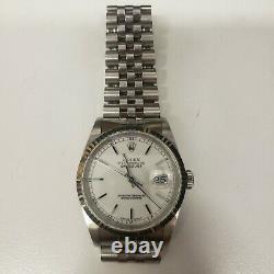 Rolex Men's Datejust 36 Wrist Watch, White Face, 16234 Full Set, Vg Condition