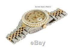 Rolex Mens Datejust 16013 36mm Bicolore Pleine De Haute Qualité Diamond Watch-quickset