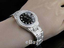 Rolex Oyster En Acier Inoxydable Datejust En Acier 36mm Pleine Diamond Watch 9.0 Ct