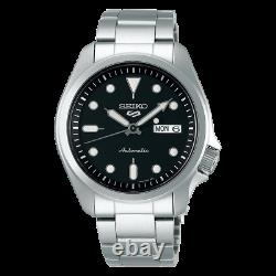 Seiko 5 Sports 40mm Full Stainless Steel Black Dial Montre Automatique Srpe55k1