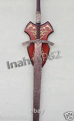 Sorcier Roi Épée + Sorcier Épées Du Seigneur Des Anneaux Avec Plaque De Mur