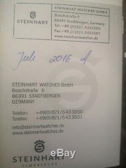 Steinhart Gmt Océan 1 Montre Bleu Rouge. Ensemble Complet. État Neuf