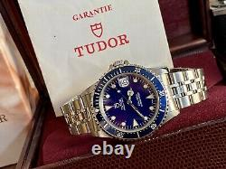 Tudor 75190 Submariner Blue Dial Prince Date Full Set 90s Papiers Automatic Watch