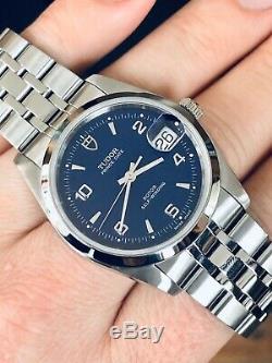 Tudor Ensemble Complet Rolex Prince Date Cadran Bleu Hommes Papiers 34mm Montre En Acier + Box