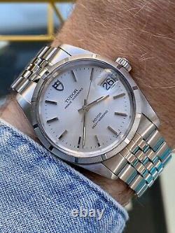 Tudor Full Set Rolex Prince Oysterdate Date Vintage Mens 34mm Acier 1988 Montre