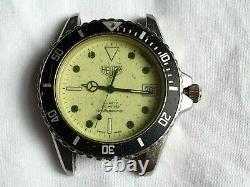 Vintage Heuer Night Diver 980.113 Full Lume Dial Quartz Watch Needs Service