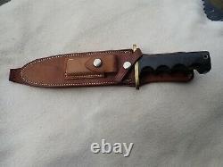 Vintage Randall 14 Couteau D'attaque S Blade Saw Dents Oblong Hilt Rough Back Gaine